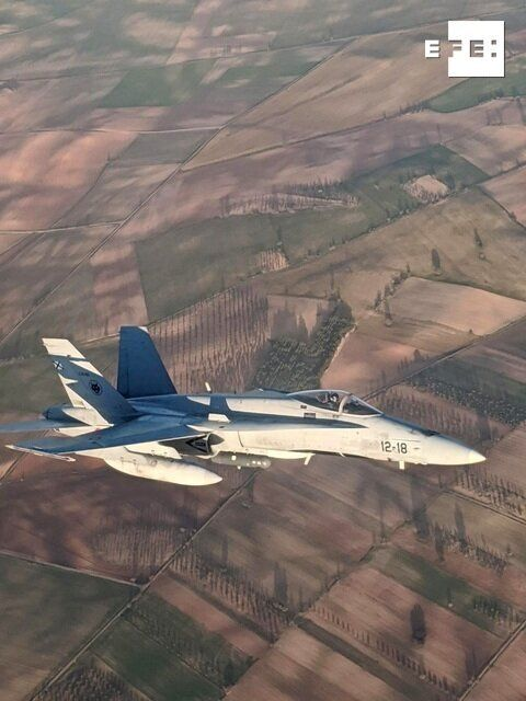 El caza F-18 que acompaña al avión de Air