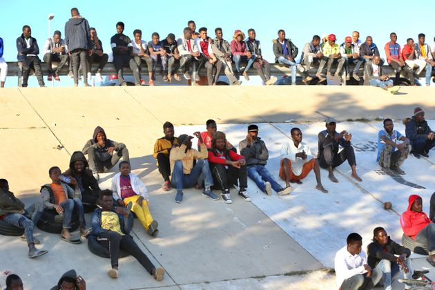 TRIPOLI, LIBYA - JANUARY 31: African irregular migrants, targeted by forces loyal to Libya's renegade...