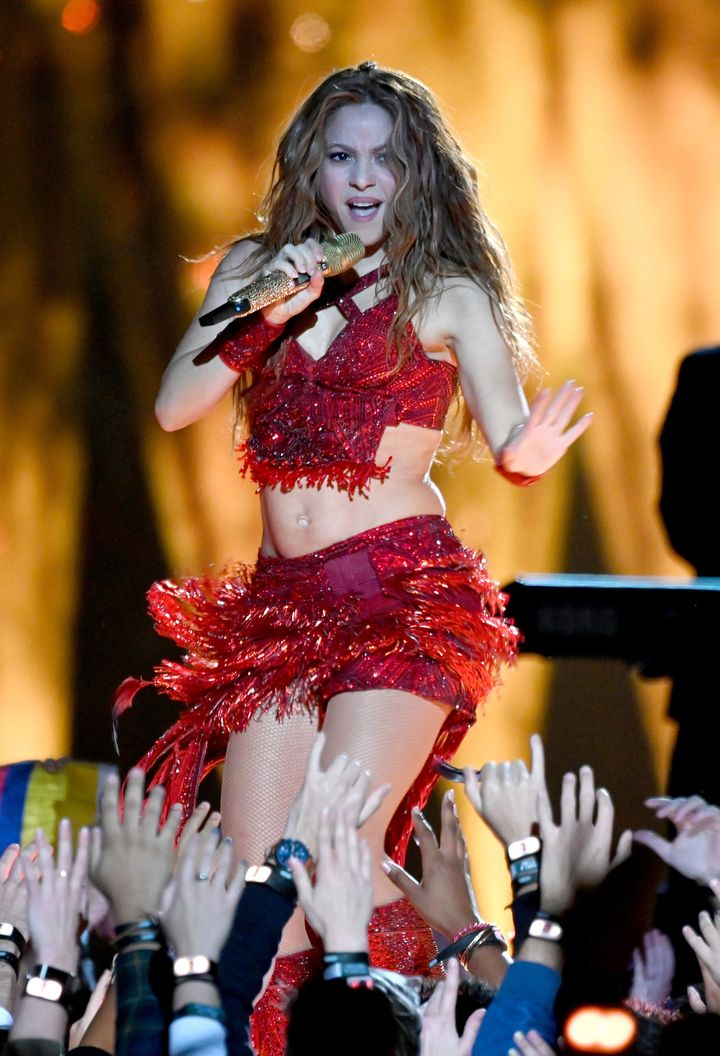 Shakira performs during the Super Bowl LIV on Sunday.