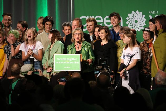 Green Party Leader Elizabeth May delivers speech following election night at Crystal Gardens in Victoria,...
