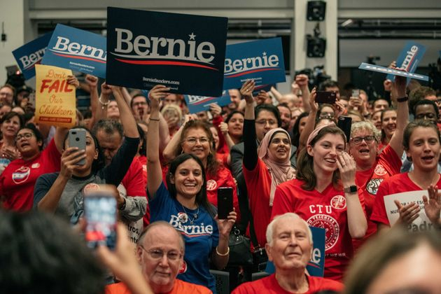 Supporters cheer for Democratic presidential candidate Sen. Bernie Sanders (I-Vt.) who spoke at a rally...
