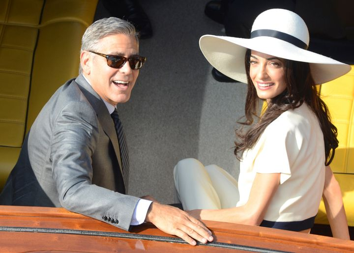 George and Amal Clooney leaving city hall after their civil marriage ceremony in Venice, Italy, on Sept. 29, 2014.