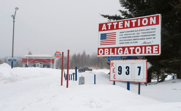 A gas station near the US/Canada border in the border town of Pohenegamook,