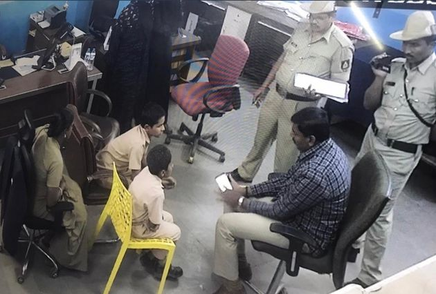 A file photo of students of the Shaheen School in Karnataka's Bidar being questioned by the police last
