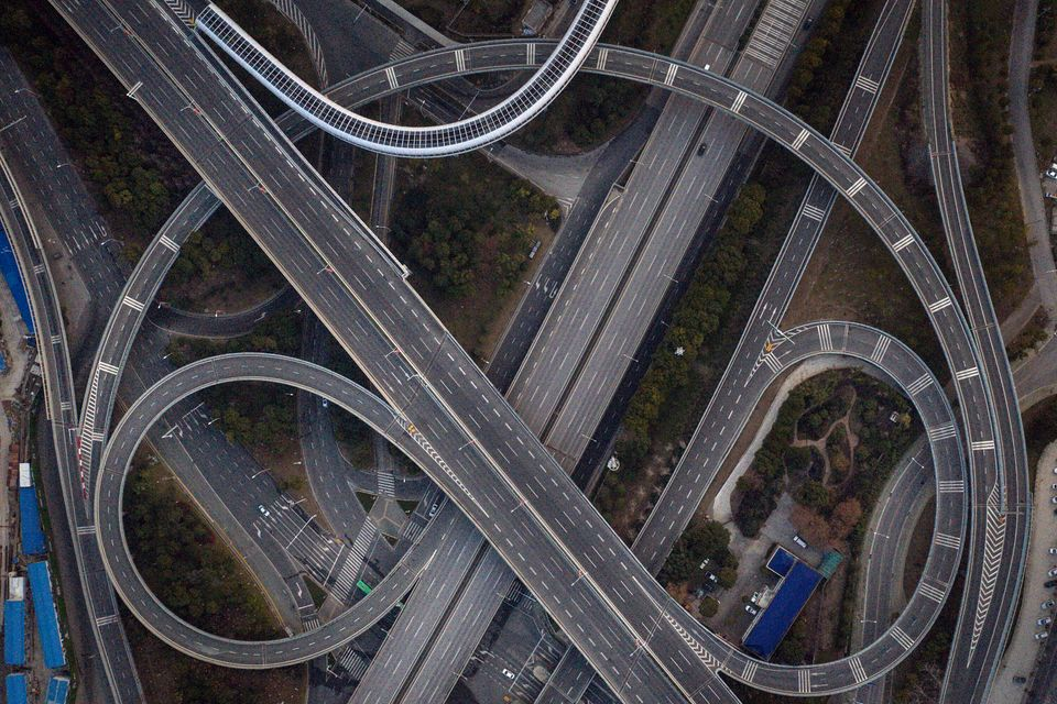 WUHAN, CHINA - FEBRUARY 03: (CHINA OUT) An aerial view of the roads and bridges are seen on February...