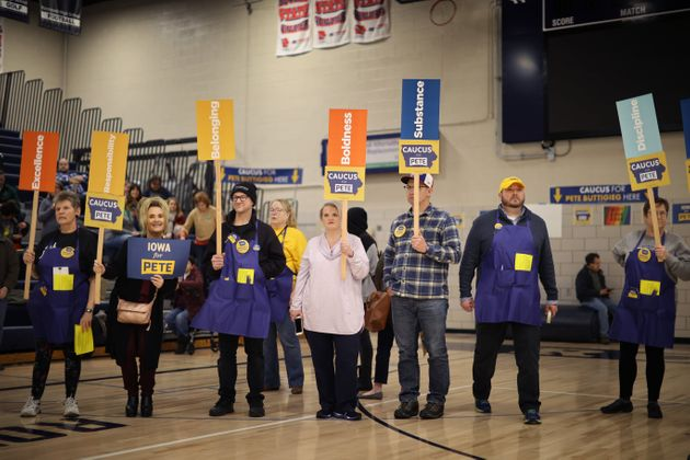 DES MOINES, IOWA - FEBRUARY 03: Supporters of Democratic presidential candidate Democratic presidential...