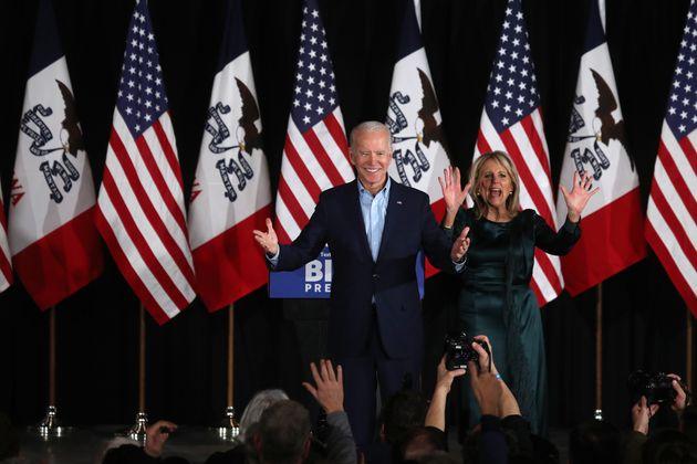 DES MOINES, IOWA - FEBRUARY 03: Democratic presidential candidate former Vice President Joe Biden takes...