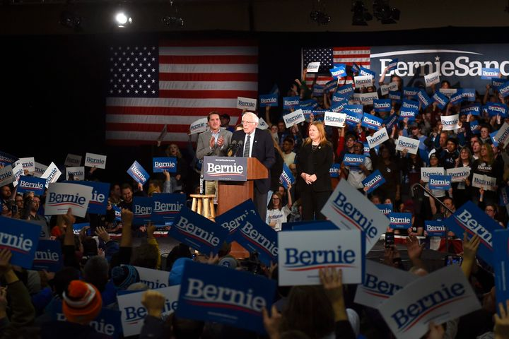 U.S. Sen. Bernie Sanders addresses his supporters during a caucus night event in Des Moines, Iowa, on Monday. Sanders said he has a good feeling the Iowa caucus results will be positive for his campaign.
