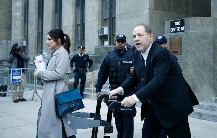 Harvey Weinstein leaving court.
