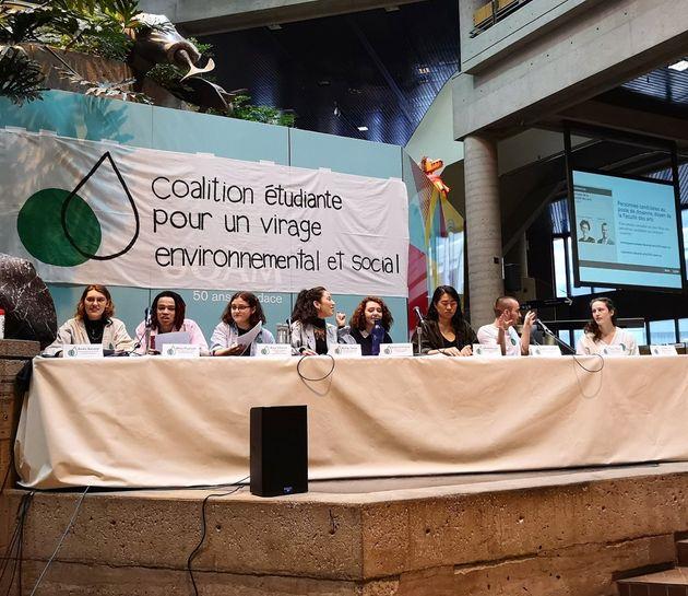 La conférence de presse de la Coalition étudiante pour un virage environnemental et social...