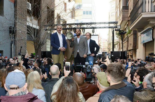 Ortega Smith e Ignacio Garriga, en la inauguración de la sede de Vox en