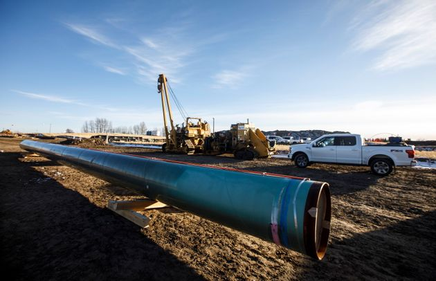 Construction is underway for the Trans Mountain expansion project in Acheson, Alta. on Dec. 3,