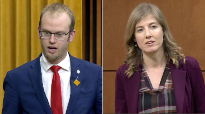 Conservative MP Arnold Viersen and NDP MP Laurel Collins are shown in a screengrab of debates in the House of Commons on Feb. 4, 2020.