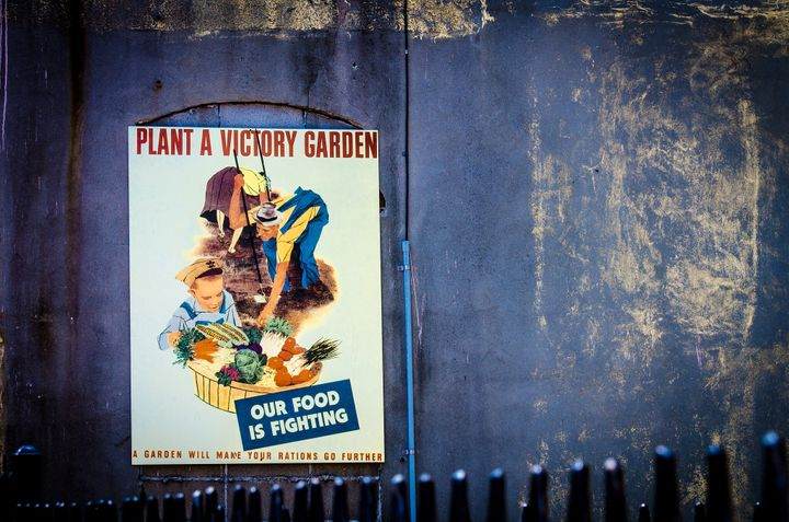 A World War II victory garden poster at the National WWII Museum in New Orleans.
