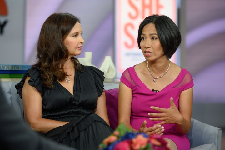 Rowena Chiu (right), with Ashley Judd (left), speaking out about Harvey Weinstein allegedly assaulting her.