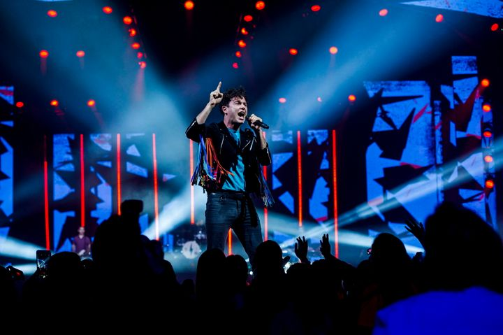 Max Kerman, lead singer for Arkells performs during the We Day event in Toronto on Thursday, Sept. 20, 2018.