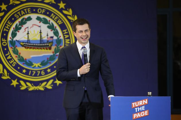 LACONIA, NEW HAMPSHIRE - FEBRUARY 04: Democratic presidential candidate, South Bend, Indiana Mayor Pete...