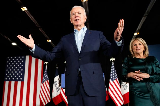 Democratic presidential candidate former Vice President Joe Biden at a caucus night campaign rally on...