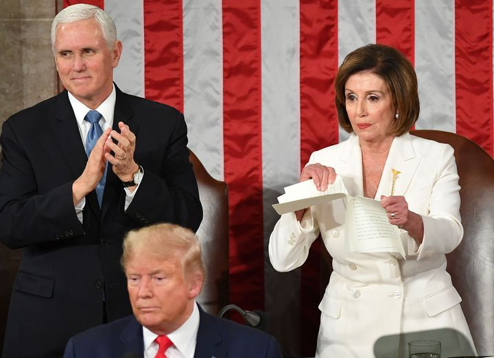 House Speaker Nancy Pelosi ripped a copy of President Donald Trump's speech after he delivers the State of the Union address Tuesday at the Capitol.