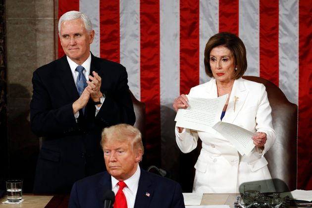 House speaker Nancy Pelosi tears her copy of president Donald Trump's State of the Union address after...