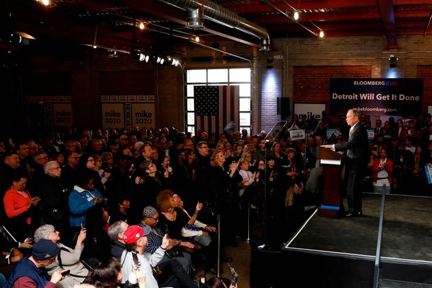 Democratic presidential candidate and former New York Mayor Michael Bloomberg speaks at a campaign stop...