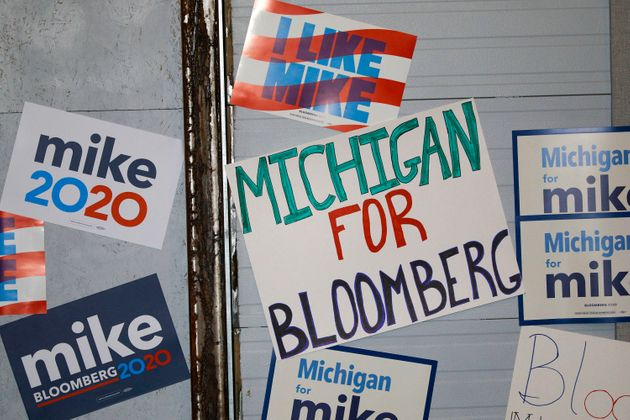 DETROIT, MI - FEBRUARY 04: Signs are posted on a wall at a rally site where Democratic presidential candidate...