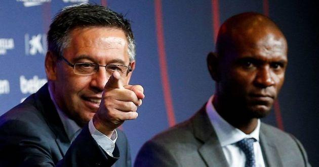 Bartomeu, presidente del Barça y Abidal en la presentación de