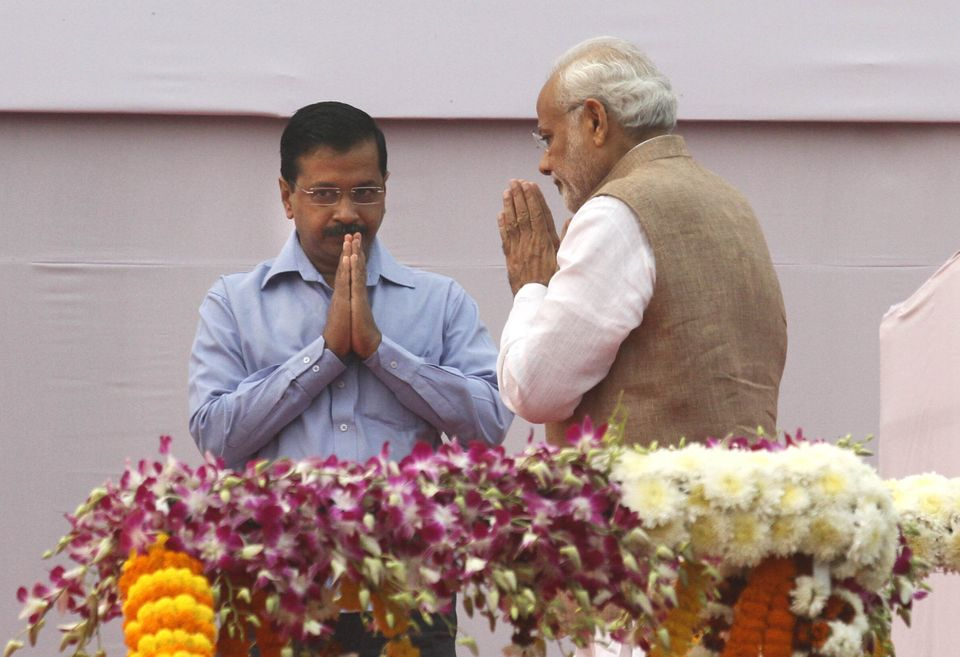 Prime Minister Narendra Modi with Delhi Chief Minister Arvind Kejriwal in a file