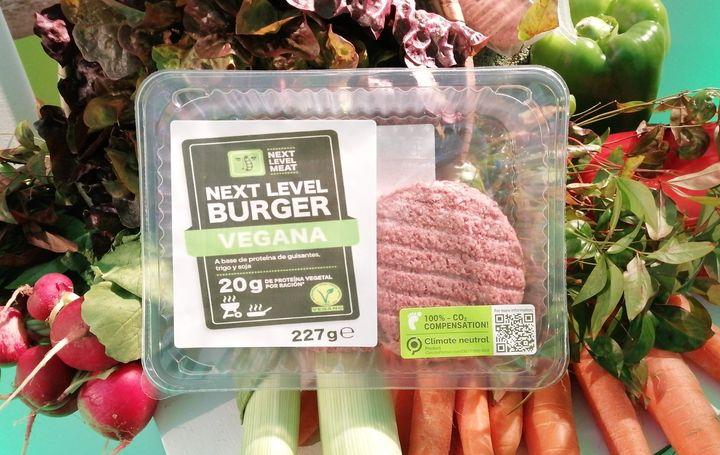 Hamburguesa vegana de Lidl en su envase actual.