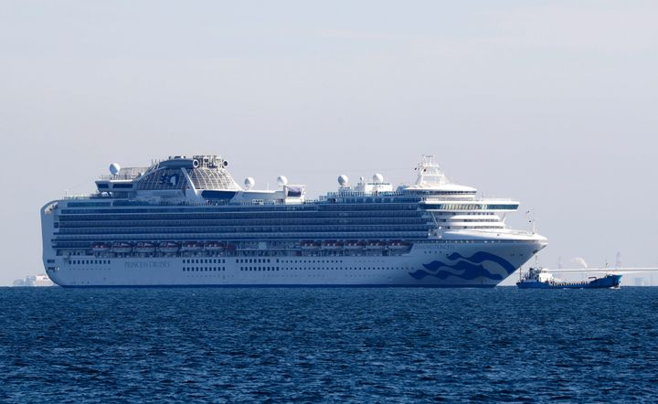 The Diamond Princess cruise ship is seen anchored in Yokohama, Japan, on Wednesday after 10 people on the cruise liner tested positive for the new coronavirus.