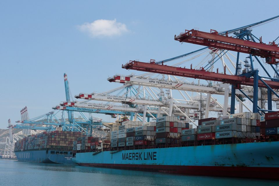 A general view of Tanger-Med container port in Ksar Sghir near the coastal city of Tangier, Morocco,...