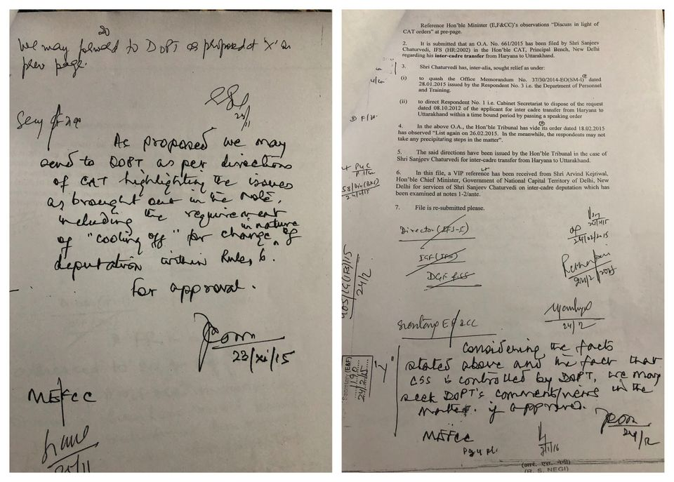 Ashok Lavasa's handwritten notes on documents in which the proposal for appointment of Sanjiv Chaturvedi...