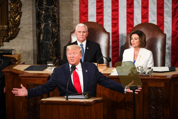 Trump delivers his State of the Union address in front of Vice President Mike Pence and House Speaker Nancy Pelosi (D-Calif.)