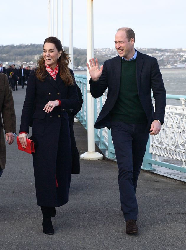 The Duke and Duchess of Cambridge during their visit to Wales on