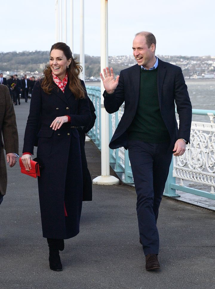 The Duke and Duchess of Cambridge during their visit to Wales on Tuesday.