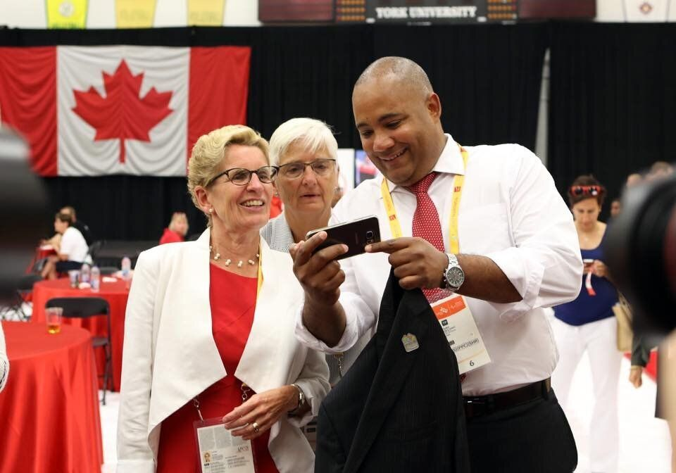 Ontario Liberal leadership contestant Michael Coteau with former premier Kathleen Wynne in a Facebook