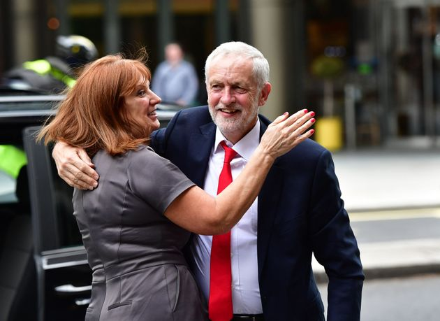 Jeremy Corbyn and Karie Murphy outside the Labour Party HQ in