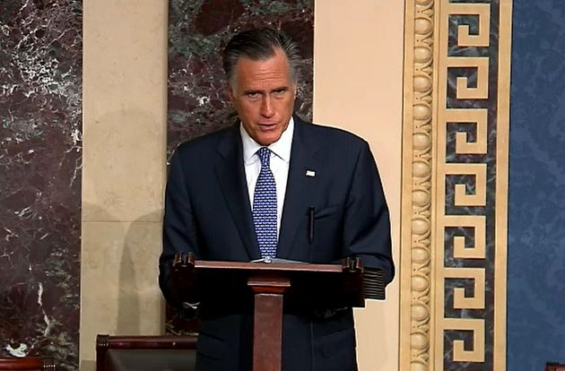 Sen. Mitt Romney during impeachment proceedings against U.S. President Donald Trump on Feb. 5, 2020 in...