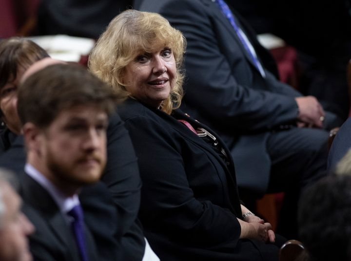 Sen. Lynn Beyak waits for the Speech from the Throne to being in the Senate in Ottawa on Dec. 5, 2019.