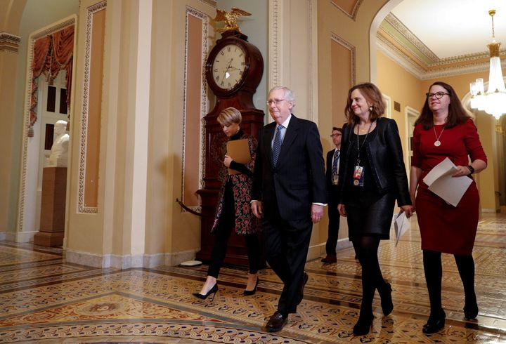Senate Majority Leader Mitch McConnell (enters the Senate Chamber ahead of expected final votes in the Senate impeachment trial on Feb. 5, 2020.