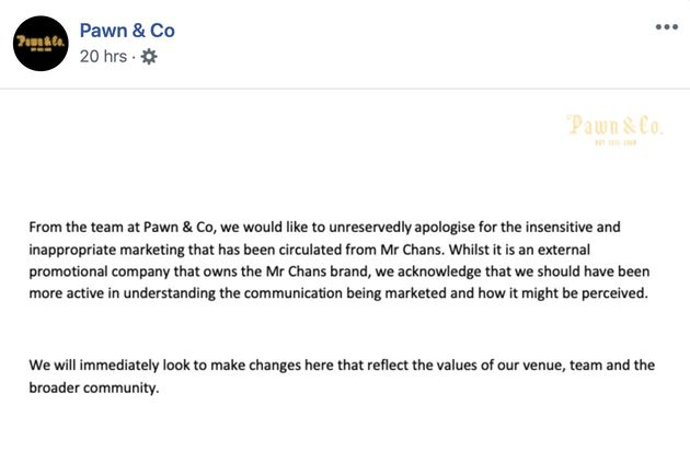 Pawn & Co issued an apology on Wednesday.