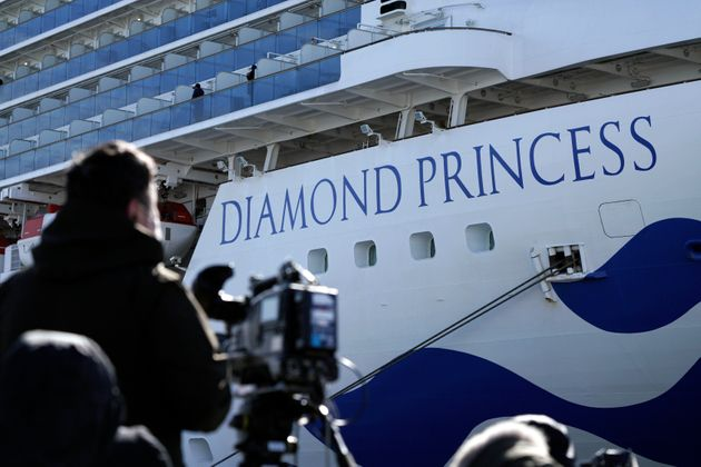 The cruise ship Diamond Princess is anchored at Yokohama Port for supplies replenished in Yokohama, south...