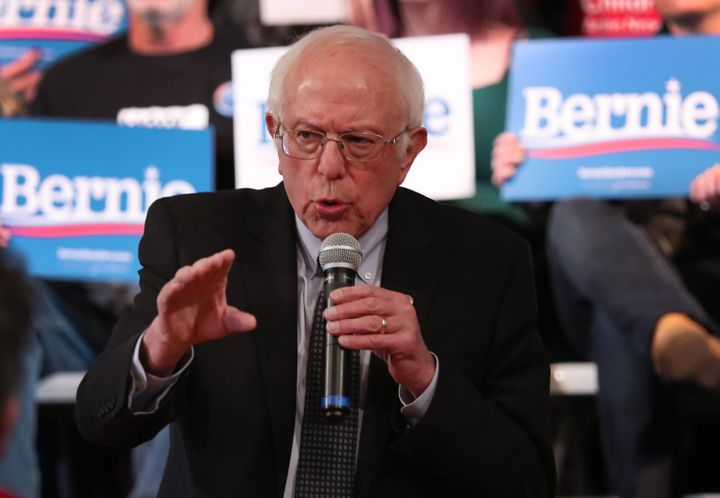 Sen. Bernie Sanders (I-Vt.) speaks to voters in Derry, New Hampshire, on Wednesday. He remains the polling favorite days befo