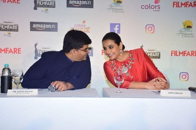Editor Jitesh Pillai and actor Vidya Balan at the press conference of the Filmfare Awards on February...