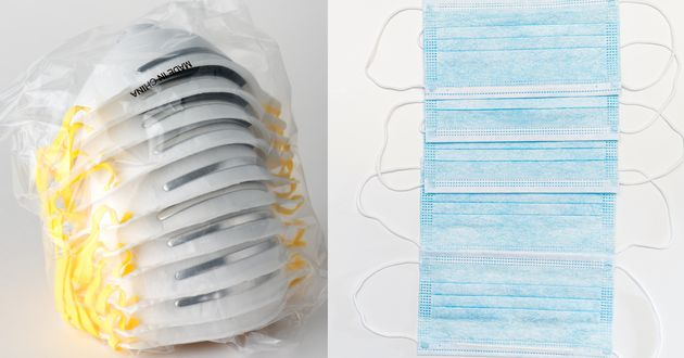 N95 masks, left, and paper surgical masks. Prof. Choi has developed a salt coating that can be applied...