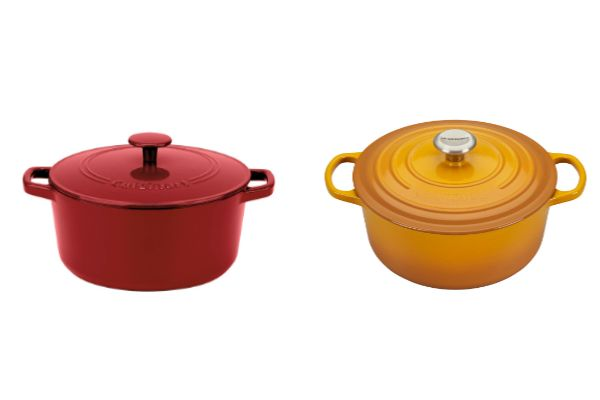 Left to right: Cuisinart's $69 Chef's Classic enameled cast iron 7-quart Dutch oven, and Le Creuset's $380 7 1/4-quart enameled cast iron round Dutch oven.