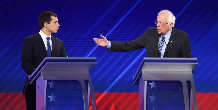 Democratic presidential hopefuls Mayor of South Bend, Indiana, Pete Buttigieg (left) and Sen. Bernie Sanders of Vermont (righ