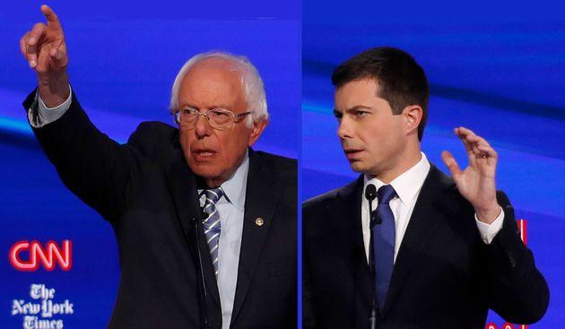 Bernie Sanders et Pete Buttigieg lors du débat des primaires du 15 octobre 2019 (photo