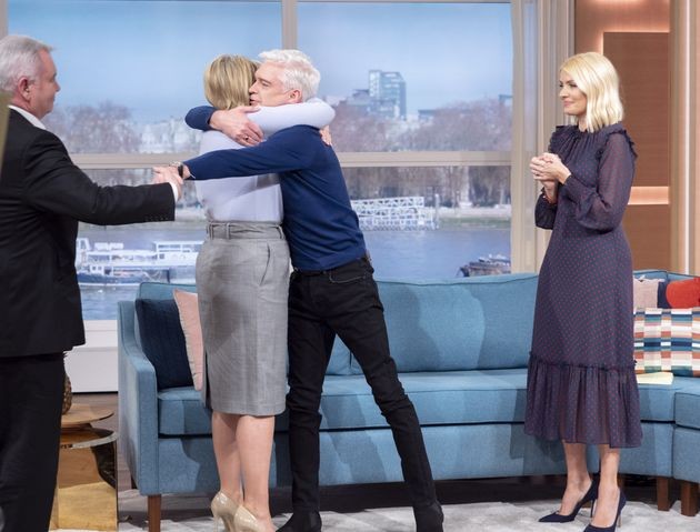 Ruth Langsford and Phillip Schofield shared a hug as she walked onto