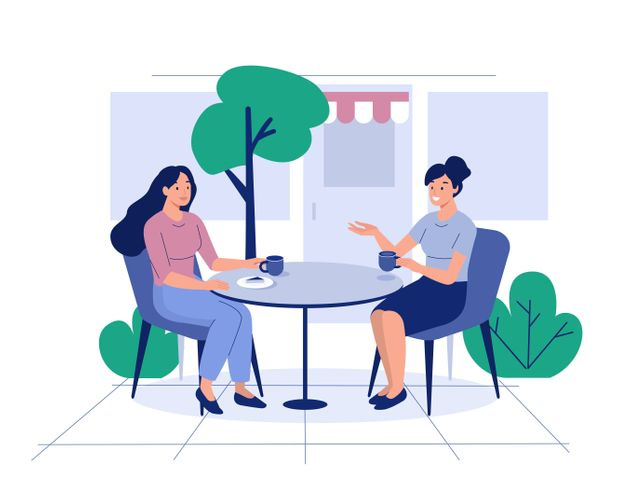 Two girls sit in cafe and drink coffee. Flat style modern vector